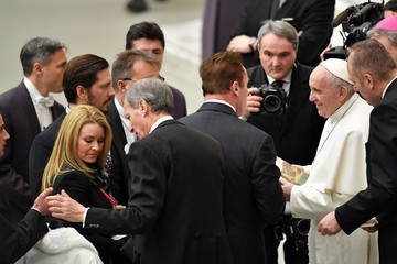 Arnold Schwarzenegger Pope Francis Attends His Weekly Audience