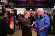 German President Frank-Walter Steinmeier is interviewed by former German athlete Fabian Hambuechen at the German House (Deutsches Haus) on day one of the PyeongChang 2018 Winter Olympic Games on February 10, 2018 in Pyeongchang-gun, South Korea.