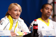 Pairs ice skaters Aljona Savchenko and Robin Szolkowy of Germany attend a Team Germany press conference during Day 2 of the Sochi 2014 Winter Olympics at the Main Press Center (MPC) on February 9, 2014 in Sochi, Russia.