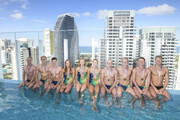 (L-R) Matthew Wilson, Mack Horton  Jack Cartwright, Brianna Throssell, Ariarne Titmus, Brianna Throssell, Emma McKeon, David Morgan ,Clyde Lewis, Cameron McKevoy and Jake Packard during a Speedo photo shoot at The Star Casino rooftop on day eight of the Gold Coast 2018 Commonwealth Games at Star Casino on April 12, 2018 on the Gold Coast, Australia.