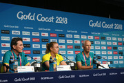 Australian Athletics team head coach, Craig Hilliard and team doctor Paul Blackman (r) are seen during  Sally Pearson press conference as she withdraws from the the games due to injury  on day one of the Gold Coast 2018 Commonwealth Games at Gold Coast Convention and Exhibition Centre on April 5, 2018 on the Gold Coast, Australia.