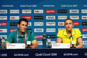 Sally Pearson of Australia and Australia team head coach Craig Hilliard look on in a press conference as she withdraws from the the games due to injury on day one of the Gold Coast 2018 Commonwealth Games at Gold Coast Convention and Exhibition Centre on April 5, 2018 on the Gold Coast, Australia.