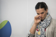 Yelena Isinbayeva of Russia reacts after being accepted as a member of the International Olympic Committee (IOC) athletes commission at the IOC 129th Session at the 2016 Summer Olympics August 21, 2016. in Rio de Janeiro, Brazil.