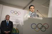 Newly elected member of the International Olympic Committee (IOC) athletes commission Yelena Isinbayeva of Russia takes the oath at the IOC 129th Session at the 2016 Summer Olympics August 21, 2016. in Rio de Janeiro, Brazil.