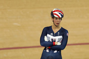 Rebecca James of Great Britain and Team GB warms up for a training session at the Rio Olympic Velodrome on August 9, 2016 in Rio de Janeiro, Brazil.