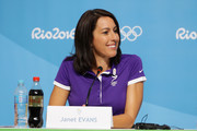 Former Olympian, Janet Evans speaks during a press conference on Day 4 of the Rio 2016 Olympic Games on August 9, 2016 in Rio de Janeiro, Brazil.