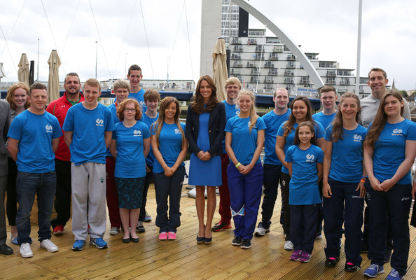 Catherine, Duchess of Cambridge poses for a photo during a SportsAid reception at 'Home Nation House' on July 29, 2014 in Glasgow, Scotland. The Duchess is patron of the charity, which funds the rising stars of British sport to help them reach the top and compete internationally.