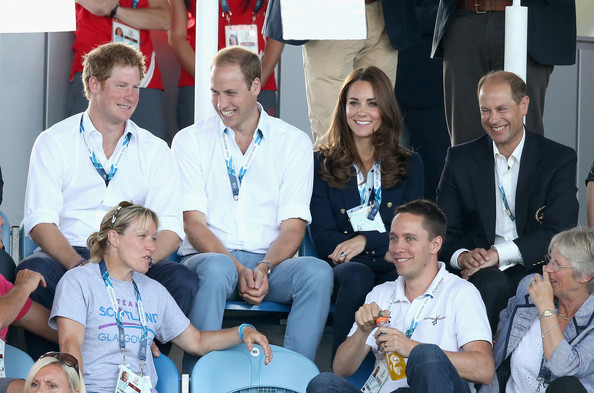 Prince Harry, Prince William, Duke of Cambridge, Catherine, Duchess of Cambridge and Prince Edward, Earl of Wessex watch Scotland Play Wales at Hockey at the Glasgow National Hockey Centre during the 20th Commonwealth games on July 28, 2014 in Glasgow, Scotland.