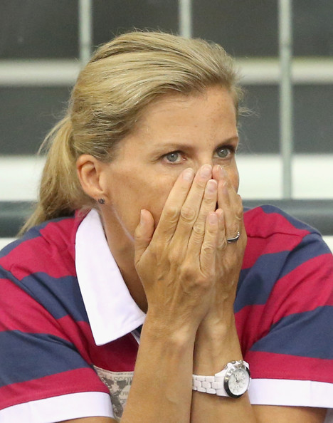 Sophie, Countess of Wessex watches the English Men's Team compete in the Team Sprint Final at the Chris Hoy Velodrome in the Emirates Arena during the Commonwealth games on July 24, 2014 in Glasgow, Scotland.
