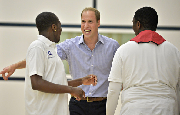 Prince William, Duke of Cambridge plays 5 a side football during a visit to the Coach Core project at Gorbals Leisure Centre on July 29, 2014 in Glasgow, Scotland.