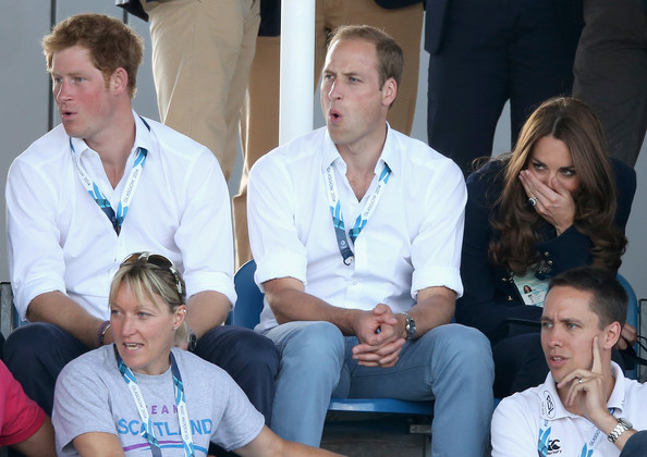 Prince Harry,  Prince William, Duke of Cambridge and Catherine, Duchess of Cambridge watch Scotland Play Wales at Hockey at the Glasgow National Hockey Centre during the 20th Commonwealth games on July 28, 2014 in Glasgow, Scotland.
