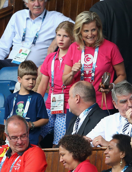 Sophie, Countess of Wessex and her children James, Viscount Severn and Lady Louise Windsor watch Scotland Play New Zealand in the Rugby Severns at the Ibrox Stadium during the Commonwealth games on July 26, 2014 in Glasgow, Scotland.