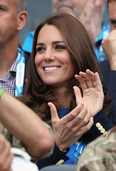 Retransmission of #452881806 with alternate crop.) Catherine, Duchess of Cambridge watches the athletics at Hampden Park as she attends day six of the Commonwealth Games on July 29, 2014 in Glasgow, Scotland.
