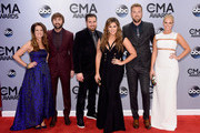 Kelli Cashiola, Dave Haywood of Lady Antebellum, Chris Tyrrell, Hillary Scott and Charles Kelley of Lady Antebellum, and Cassie McConnell attend the 48th annual CMA Awards at the Bridgestone Arena on November 5, 2014 in Nashville, Tennessee.