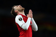 Aaron Ramsey of Arsenal reacts during the UEFA Europa League quarter final leg one match between Arsenal FC and CSKA Moskva at Emirates Stadium on April 5, 2018 in London, United Kingdom.