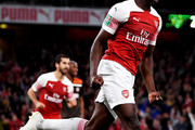 Danny Welbeck of Arsenal celebrates after he scores his sides second goal during the Carabao Cup Third Round match between Arsenal and Brentford at Emirates Stadium on September 26, 2018 in London, England.