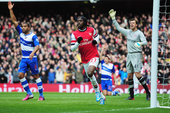 Adrian Mariappa (6) and Stuart Taylor of Reading (41) appeal as Gervinho of Arsenal scores their first goal during the Barclays Premier League match between Arsenal and Reading at Emirates Stadium on March 30, 2013 in London, England.