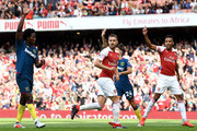Aaron Ramsey of Arsenal reacts following scoring a goal, that is disallowed for offiside during the Premier League match between Arsenal FC and West Ham United at Emirates Stadium on August 25, 2018 in London, United Kingdom.