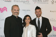 Miguel Bose, Eva Longoria and Ricky Martin attend the Art Basel Miami Beach 2017 - The Global Gift Foundation USA Benefit Hurricane Relief Efforts In Puerto Rico And Florida at Nobu Eden Roc Hotel on December 7, 2017 in Miami Beach, Florida.
