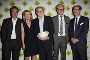 (L-R) Sam Mendes, Clare Lilley, Founder and Executive Director of Yorkshire Sculpture Park, Peter Murray, Greville Worthington and Stephen Deuchar pose for photographs after Yorkshire Sculpture Park receives the £100,000 Art Fund Prize For Museum Of The Year at National Gallery on July 9, 2014 in London, England.