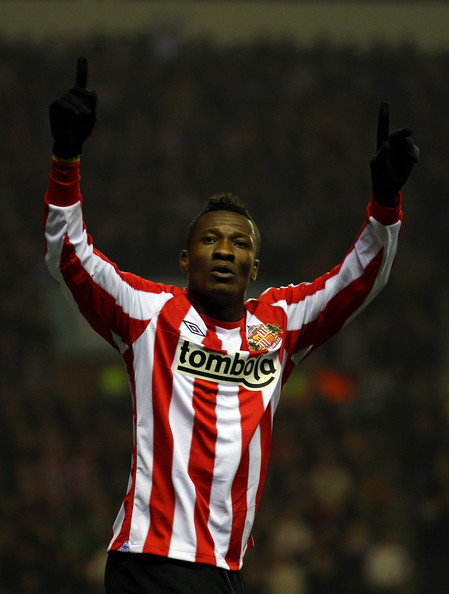 Asamoah Gyan Asamoah Gyan of Sunderland celebrates scoring the first goal during the Barclays Premier League match between Sunderland and Tottenham Hotspur at the Stadium of Light on February 12, 2011 in Sunderland, England.