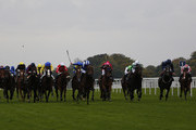 Paul Hanagan riding Muhaarar (C, blue/white cap) win The Qipco British Champions Sprint Stakes at Ascot racecourse on October 17, 2015 in Ascot, England.