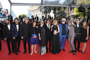 """(L-R)  Actors Peter Lanzani, Chino Darin, producer Hugo Sigman with his wife Silvia Gold, actress Mercedes Moran, director Luis Ortega, actress Cecilia Roth, producer Pedro Almodovar, actor Lorenzo Ferro and producer Sebastian Ortega and guest from the film 'El Angel' attend the screening of """"Ash Is The Purest White (Jiang Hu Er Nv)"""" during the 71st annual Cannes Film Festival at Palais des Festivals on May 11, 2018 in Cannes, France."""