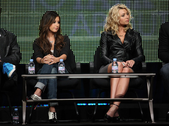 Ashley Tisdale Actresses Ashley Tisdale and Aly Michalka speak onstage during the