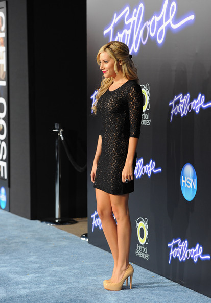 "Ashley Tisdale Actress Ashley Tisdale arrives to the premiere of Paramount Pictures' ""Footloose"" on October 3, 2011 in Los Angeles, California."