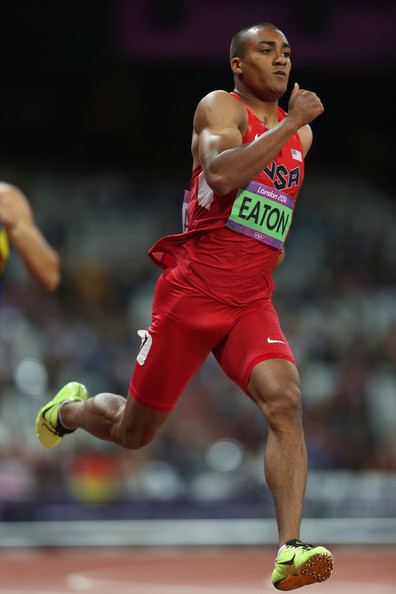 Ashton Eaton Ashton Eaton of the United States competes in the Men's Decathlon 400m Heats on Day 12 of the London 2012 Olympic Games at Olympic Stadium on August 8, 2012 in London, England.