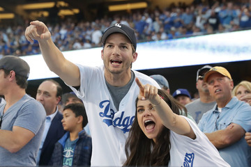 Ashton Kutcher NLCS - Chicago Cubs v Los Angeles Dodgers - Game Four