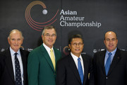 (L-R) Allan Gormly, Chairman of R&A, Billy Payne, Chairman of Augusta National Golf Club and the Master Tournament, Kwang-soo Hur, President of the Asia-Pacific Golf Confederation, and Dominic Wall Tournament Director of Asian Amateur Championship pose for the media after a news conference ahead of the Asian Amateur Championship at the Mission Hills Golf Club on October 28, 2009 in Shenzhen, Guangdong, China. The inaugural Asian Amateur Championship will be held from 29 October to 1 November.