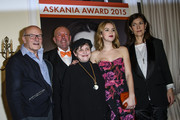 Volker Schloendorff, Leonhard R. Mueller, Katharina Thalbach, Emilia Schuele and Ute Wieland pose during the ceremony of the Askania Award 2015 at Kempinski Hotel Bristol on February 3, 2015 in Berlin, Germany.