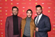 """(L-R) Edgar Ramirez, Darren Criss and Ricky Martin attend the premiere of """"The Assassination of Gianni Versace: America Crime Story"""" at the Metrograph on December 11, 2017, in New York. / AFP PHOTO / ANGELA WEISS"""