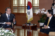 US Assistant Secretary of State for East Asia and Pacific affairs Kurt Campbell talks with South Korean foreign minister Yoo Myung-Hwan during their meeting at foreign ministry  on July 20, 2009 in Seoul, South Korea. Campbell will discuss North Korea's defiance over their nuclear program today when he meets with South Korean officials.