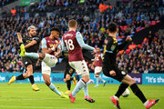 Sergio Aguero of Manchester City scores his sides first goal during the Carabao Cup Final between Aston Villa and Manchester City at Wembley Stadium on March 01, 2020 in London, England.