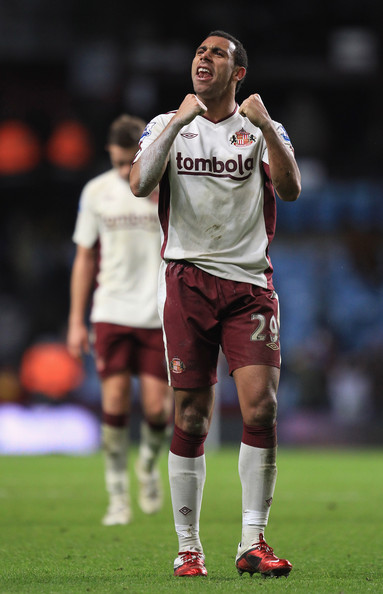Anton Ferdinand of Sunderland celebrates his teams victory after the Barclays Premier Leaue match between Birmingham City and Sunderland at Villa Park, on January 5, 2011 in Birmingham, England.