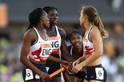 Anyika Onuora, Finette Agyapong, Perri Shakes-Drayton and Emily Diamond of England look dejected after the Women's 4x400 metres relay final during athletics on day 10 of the Gold Coast 2018 Commonwealth Games at Carrara Stadium on April 14, 2018 on the Gold Coast, Australia.