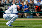 Jon Lester #34 of the Chicago Cubs reacts after giving up a single to Matt Kemp #27 of the Atlanta Braves to load the bases during the first inning at Wrigley Field on September 2, 2017 in Chicago, Illinois.