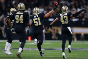 Manti Te'o #51 of the New Orleans Saints celebrates after recovering a fumble during the second half of a game against the Atlanta Falcons at the Mercedes-Benz Superdome on December 24, 2017 in New Orleans, Louisiana.