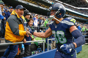 Tight end Jimmy Graham #88 of the Seattle Seahawks is congratulated by fans after the game against the Atlanta Falcons at CenturyLink Field on October 16, 2016 in Seattle, Washington. The Seahawks beat the Falcons 26-24.