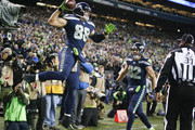 Tight end Jimmy Graham #88 of the Seattle Seahawks celebrates his 4 yard touchdown against the Atlanta Falcons during the first quarter of the game at CenturyLink Field on November 20, 2017 in Seattle, Washington.