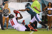 Julio Jones #11 of the Atlanta Falcons is unable to make a reception as he is defended by Jalen Mills #31 of the Philadelphia Eagles during the third quarter at Lincoln Financial Field on September 6, 2018 in Philadelphia, Pennsylvania.