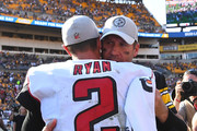 Ben Roethlisberger #7 of the Pittsburgh Steelers hugs Matt Ryan #2 of the Atlanta Falcons at the end of a Steelers 41-17 win over the Falcons at Heinz Field on October 7, 2018 in Pittsburgh, Pennsylvania.