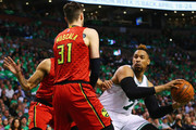 Mike Muscala #31 of the Atlanta Hawks defends Jared Sullinger #7 of the Boston Celtics during the second quarter of Game Four of the Eastern Conference Quarterfinals during the 2016 NBA Playoffs at TD Garden on April 24, 2016 in Boston, Massachusetts. NOTE TO USER User expressly acknowledges and agrees that, by downloading and or using this photograph, user is consenting to the terms and conditions of the Getty Images License Agreement.