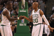 Ray Allen #20 of the Boston Celtics smiles with Mickael Pietrus #28 of the Boston Celtics at the end of the first quarter during a game with the Atlanta Hawks in Game Three of the Eastern Conference Quarterfinals during the 2012 NBA Playoffs on May 4, 2012 at TD Garden in Boston, Massachusetts. NOTE TO USER: User expressly acknowledges and agrees that, by downloading and or using this photograph, User is consenting to the terms and conditions of the Getty Images License Agreement.