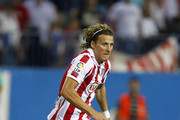 Diego Forlan of Atletico Madrid in action during the La Liga match between Atletico Madrid and Barcelona at Vicente Calderon Stadium on September 19, 2010 in Madrid, Spain.