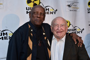 "Actors Louis Gossette Jr. and Ed Asner attend the Atomic Age Cinema Fest Premiere of ""The Man Who Saved The World"" at Raleigh Studios on April 27, 2016 in Los Angeles, California."