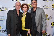 """International Uranium Film Festival Director Norbert G. Suchanek, actress Kat Kramer and actor Esai Morales attend the Atomic Age Cinema Fest Premiere of """"The Man Who Saved The World"""" at Raleigh Studios on April 27, 2016 in Los Angeles, California."""