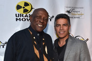 "Actors Louis Gossette Jr. and Esai Morales attend the Atomic Age Cinema Fest Premiere of ""The Man Who Saved The World"" at Raleigh Studios on April 27, 2016 in Los Angeles, California."